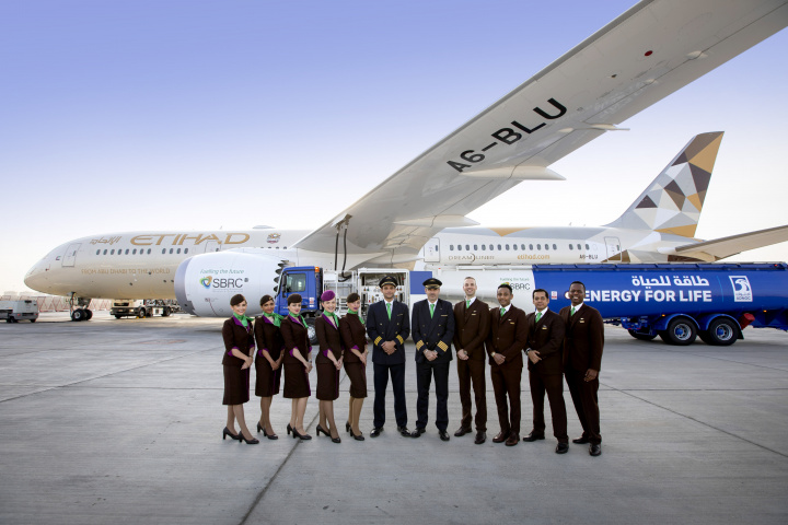 The crew of the first biofuel flight for Etihad Airways.