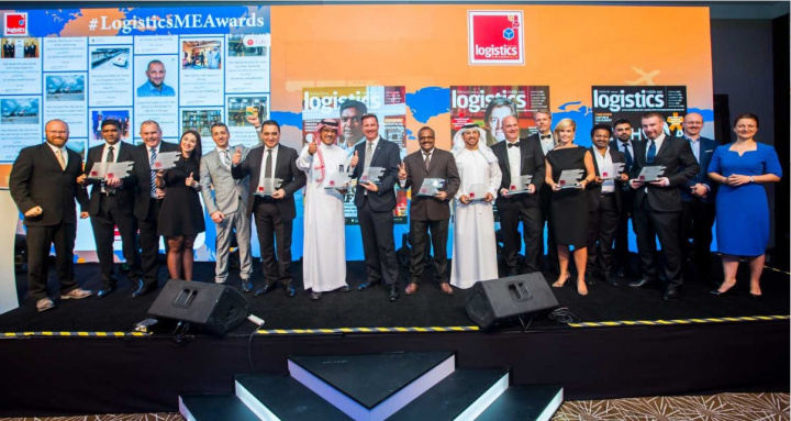 All the winners on stage at the Logistics Middle East Awards 2018.