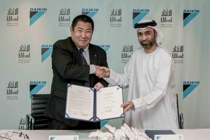 The agreement was signed by Ali Al Jassim, CEO, Etihad ESCO and Yuji Miyata, chairman and president, Daikin Middle East and Africa.