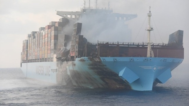 Maersk Honam was under way off the coast of Oman on March 6th, 2018 when a fire broke out in a cargo hold forward of the accommodation block.