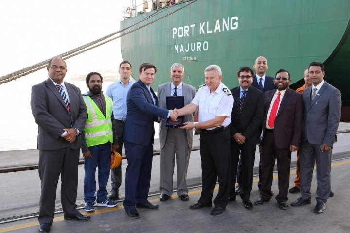 To mark the occasion, Stephen Barron, SCT terminal manager, presented a commemorative shield to Captain Mykola Chernikov, captain of Port Klang, in the presence of senior management from Gulftainer and representatives of Sunmarine Shipping Services.