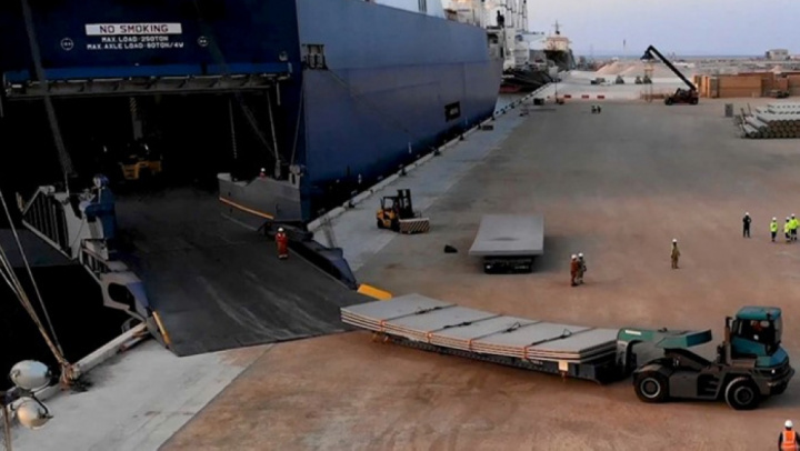 RoRo is a method to discharge cargo using wheeled or tracked cargo using a ramp from the vessel.
