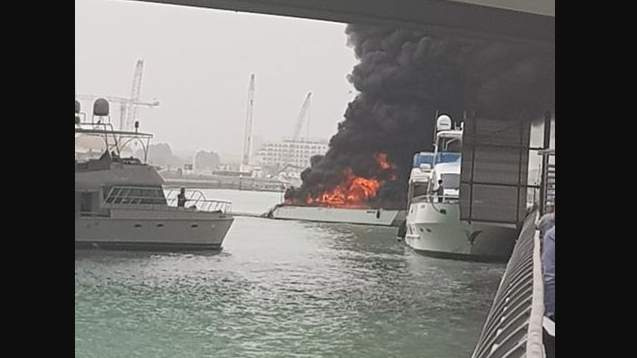 Yacht, Fire, Dubai marina