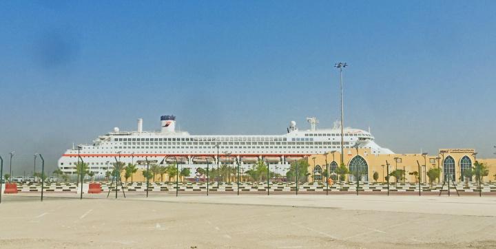 Karnika at the cruise terminal in Dubai (image courtesy Cruise Arabia)