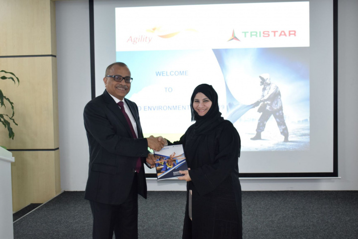 Tristar Group CEO Eugene Mayne handed the first copy of the report entitled 'Empowering the Next Generation for Sustainable Development' to Emirates Environmental Group chairperson Habiba Al Marashi in a town hall meeting held recently at the Tristar head office in Jebel Ali, where the company celebrated World Environment Day.