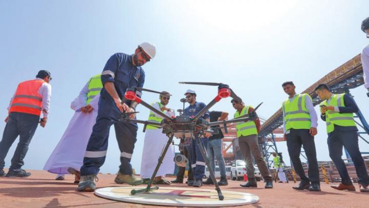Sohar, Port operations, Drones, Infrastructure, Oman, AI