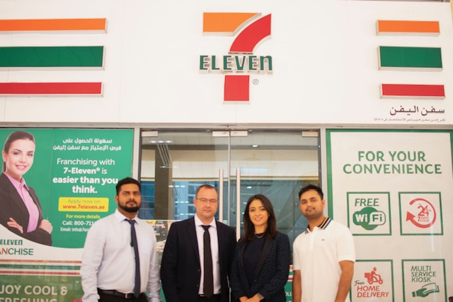 Benturquia and Noblet (centre) at a flagship 7eleven store in Dubai with Tripath (right) and Anwar (left)