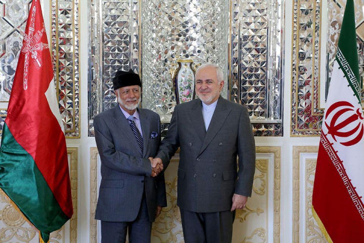 Oman's Minister of State for Foreign Affairs Yousuf bin Alawi bin Abdullah (L) shakes hands with Iran's Foreign Minister Mohammad Javad Zarif in Tehran.