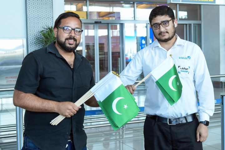 Abu dhabi airport, India, Pakistan