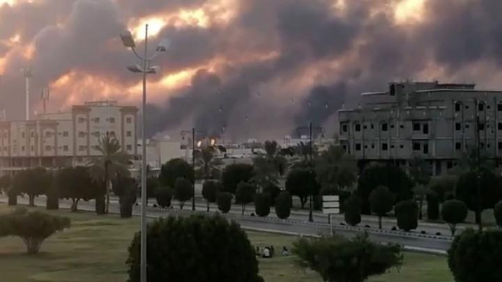 The Khurais oil field ablaze