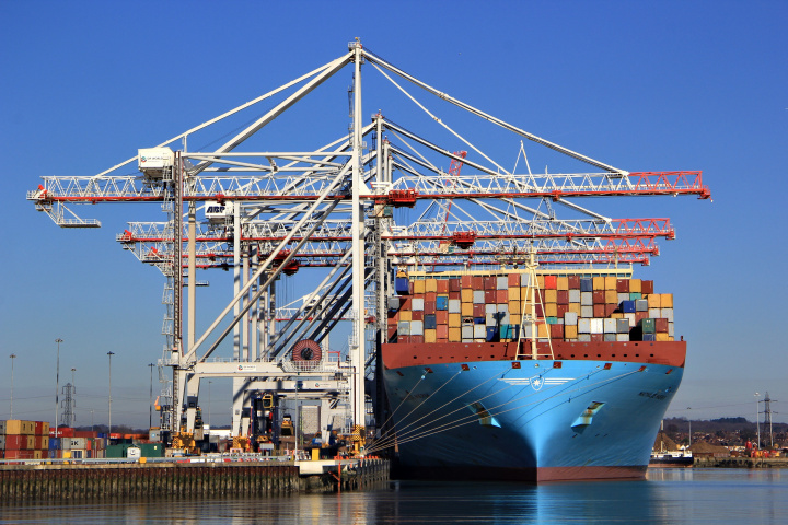 Liebherr STS cranes work on an ultra large container vessel.