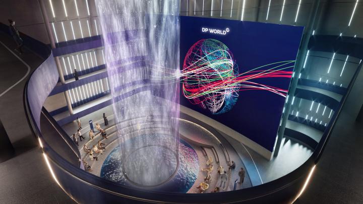 DP World Pavilion Design - atrium top waterfall