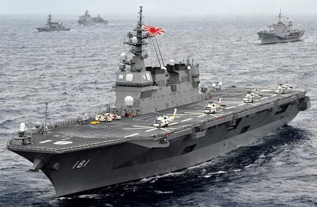 A Japanese Izumo-class 'destroyer', which operates as a helicopter carrier in practise.