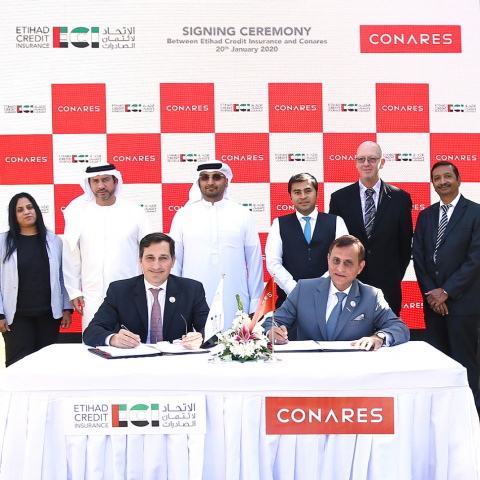 At the signing ceremony, Massimo Falcioni (front row, left), CEO of ECI and Bharat Bhatia (front row, right), CEO of Conares with senior officials from both the institutions