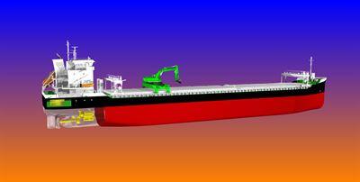 9300 DWT self-discharging bulk carriers featuring hybrid propulsion