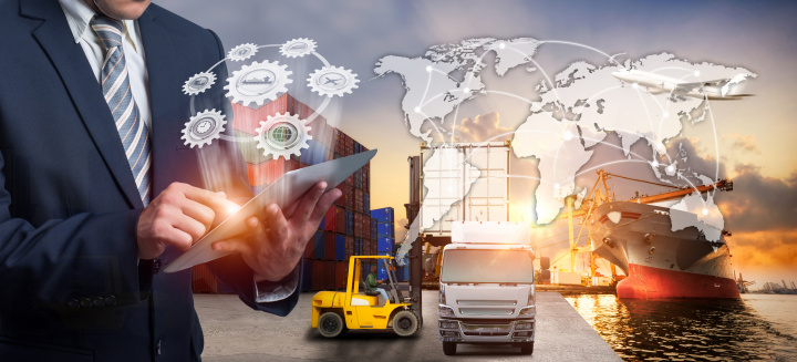 Businessman is pressing button on touch screen interface in front Logistics Industrial Container Cargo freight ship for Concept of fast or instant shipping Online goods orders worldwide