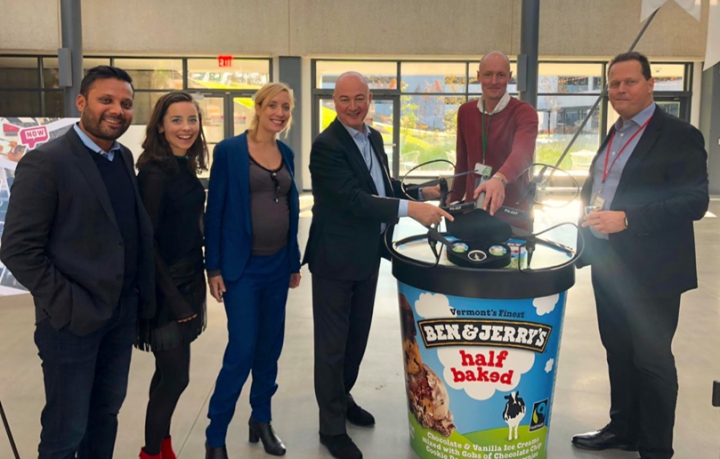 Terra Drone Europe team member (second from right) with members of Unilever's ice cream delivery program, 'Ice Cream Now', including Unilever CEO Alan Jope (third from right)