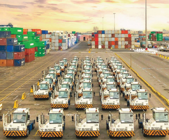 Terminal trucks at Jeddah Islamic Port.