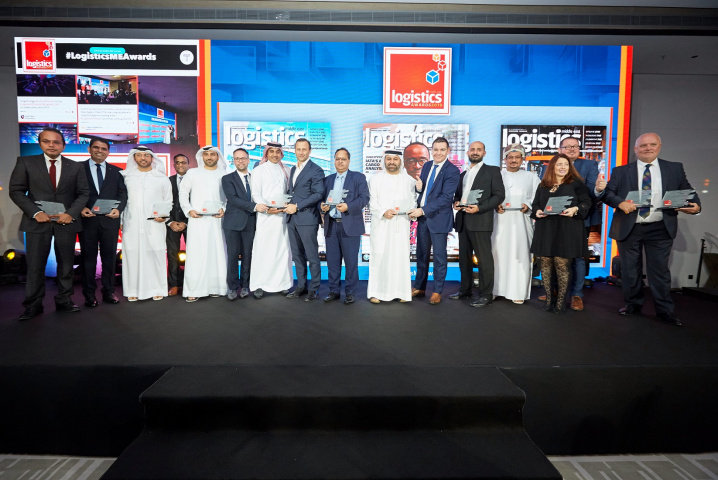 Winners from the Logistics Middle East Awards 2019 appear on stage