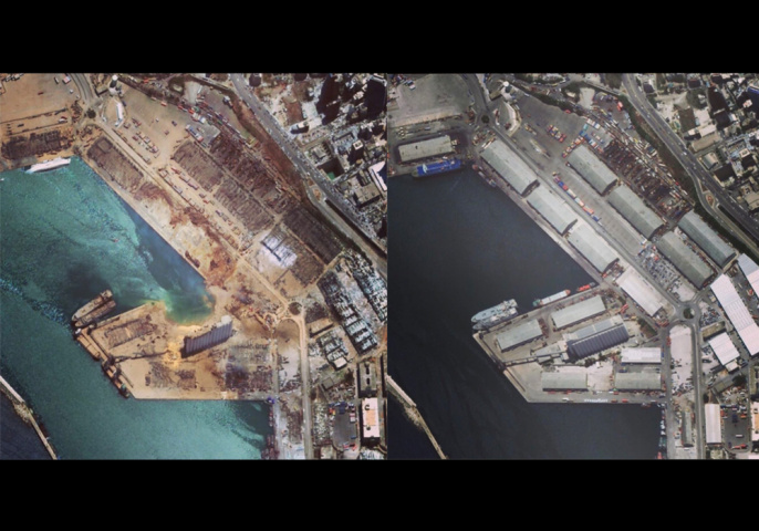Satellite images show Beirut port before and after the blast.